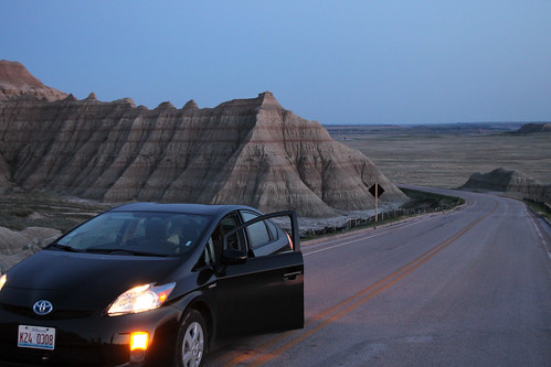 My Toyota Prius in the Badlands of South Dakota