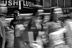 the odd man out (MdKiStLeR) Tags: street urban bw motion blur japan photography tokyo movement candid shibuya theoddmanout