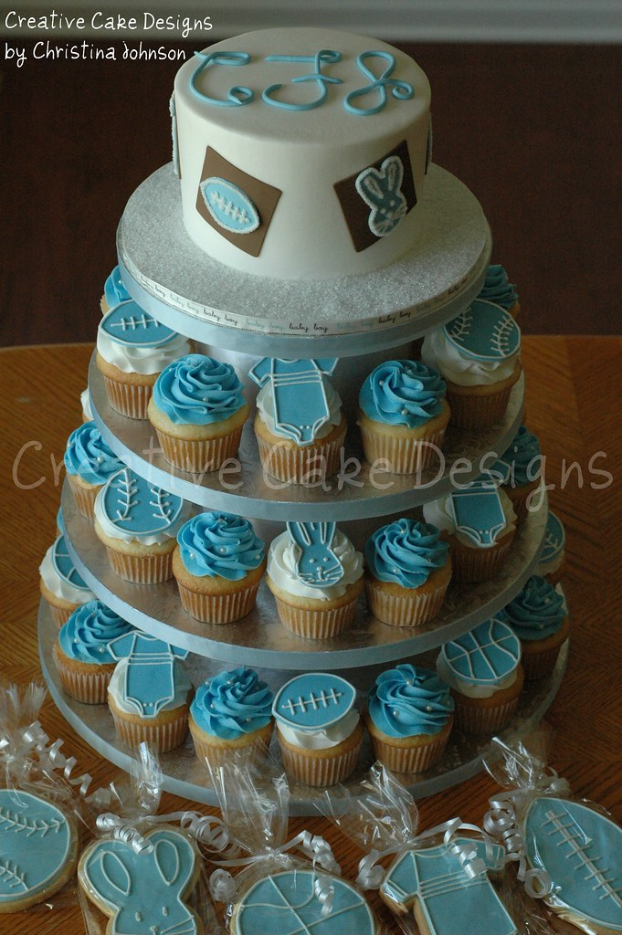 Baby Boy Cupcake Tower