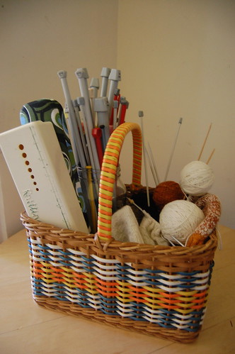 Thrifted basket for the knitting