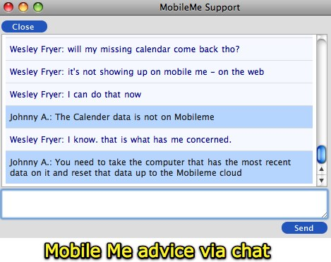 Mobile Me advice via chat
