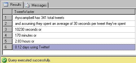 Tweet-SQL Results from tweetwasters clone shown in SSMS