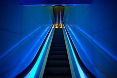 Barcelona (Aur from Paris) Tags: barcelona blue light espaa building architecture spain stair neon barca escalator deep espagne barcelone catalogne aur barcelonaaquarium cataloa 5dmarkii canoneos5dmkii