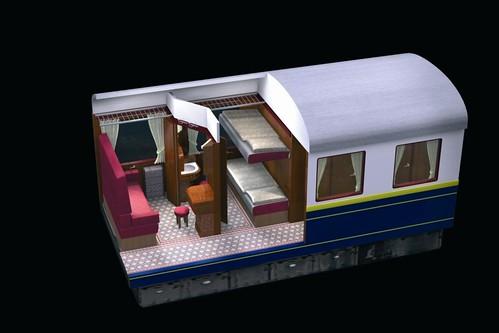 European heritage train for charters - classic sleeper, night plan