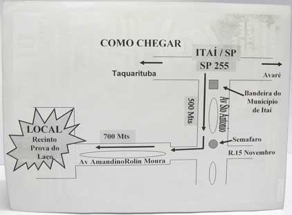 Como chegar ao 3º Aniversário Combatentes Moto Clube de Itaí-SP