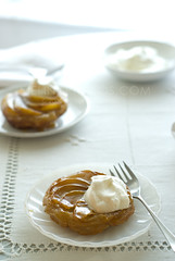 tatin, two (mwhammer) Tags: food brown white vintage french dessert yummy rustic cream delicious butter pear maplesyrup crunch puffpastry baked glazed tartetatin propstyling caramelized cidervinegar foodstyling melinahammer