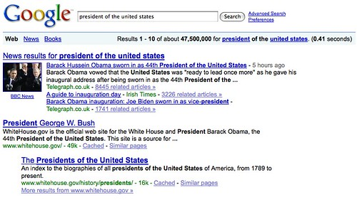 Google, President Of The United States search