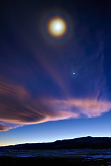 Full Moon Halo Over a First Quarter Moon (Fort Photo) Tags: blue sunset sky cloud moon night clouds stars star evening twilight nikon colorado venus indigo halo crescent moonlit co moonlight bluehour lunar 2009 soe afterdark moonbow larimer quartermoon d300 noco catchycolorsblue specland sensationalphoto