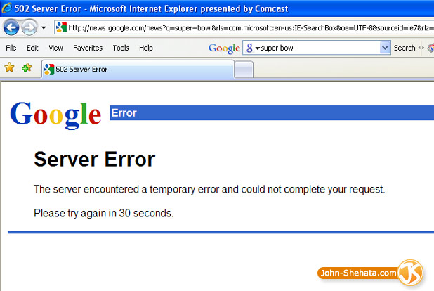 Super Bowl Google News is Down