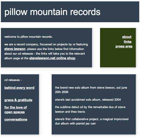 Pillow Mountain Records - how the site used to look...