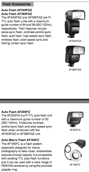 Flash accessories for the Pentax K2000 / K-m, as mentioned on pages 250 and 251 of the manual