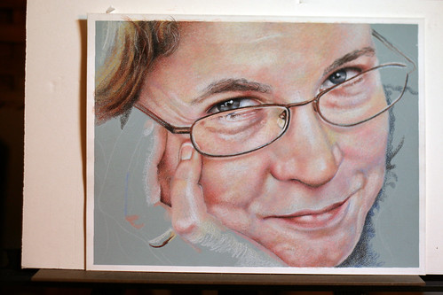 In progress colored pencil portrait of Rose Welty