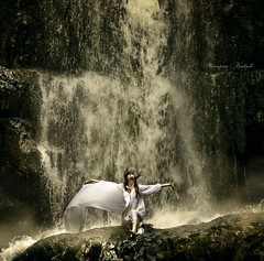 Dear lady can't you hear the wind blow? (Nika Fadul) Tags: woman white mist nature water girl waterfall rocks force dress wind fairy mnicafadul nikafadul