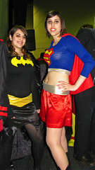 Batwoman and Superwoman - Comic Con 2009 (ajagendorf25) Tags: new york city america canon spider costume outfit comic cosplay manhattan jacob nintendo peach content happiness center superman captain batman marvel watchmen captainamerica 2009 con javits cyanide watchman jacobjavitscenter princesspeach cyanideandhappiness sx10