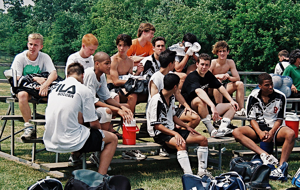 Oguchi Onyewu, Alex Yi, Kyle Beckerman, FC Potomac teamates celebrate 1998 MD U-16 State Cup