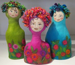 Garden Girls (studiofelter) Tags: colour felting yarn machineembroidery feltdolls wetfelt gardengirls