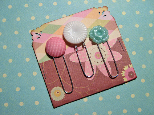 Vintage button topped clips