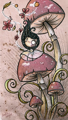 sketch (Anita Mejia) Tags: pink flowers cute sepia illustration mushrooms drawing magic traditionalart watercolors markers inks letrasettria chocolatita anitamejia