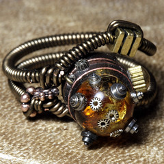 Steampunk Jewelry Ring made by CatherinetteRings (Catherinette Rings Steampunk) Tags: fiction canada fashion metal amber wire punk artist industrial mechanical quebec designer handmade montreal unique daniel victorian wrapped jewelry science bijoux retro steam ring jewellery rings fantasy copper scifi bead sciencefiction organic etsy gears artisan geekery steampunk neovictorian futurist proulx clockparts catherinetterings danielproulx