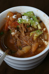 Pulled Pork and White Bean Chili eaten