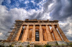 The Parthenon - Acropolis of Athens (5ERG10) Tags: sky monument sergio architecture clouds photoshop greek temple nikon angle columns perspective wideangle landmark athens parthenon greece grecia works handheld classical restoration acropolis athena architettura hdr highdynamicrange doric attica athenian scaffoldings d300 3xp photomatix atene sigma1020 ελλάδα partenone tonemapping parthenos αθήνα amiti παρθενών 5erg10 gandabeautiful sergioamiti