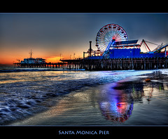 Santa Monica Pier (szeke) Tags: ocean california city sunset urban beach water landscape pier losangeles pacific santamonica wave ferriswheel hdr photomatix supershot theperfectphotographer qualitypixels sublimemasterpiece