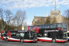 The Lancashire Way Buses in Blackburn (Henry Brett) Tags: county red bus public buses station rose way boulevard cathedral transport double lancashire blackburn deck single wright renown