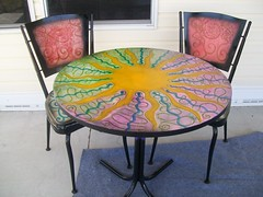 (Rick Cheadle Art and Designs) Tags: flowers blue original red brown white abstract black flower color colour green bird art love floral illustration outside design cool acrylic hand purple graphic dragonfly furniture folk circles painted funky exotic handpainted oil designs naive spiritual decor eclectic embossed acrylics whimsical symbolism primitive ecclectic rickcheadle anniesloanchalkpaint shabbyfrench