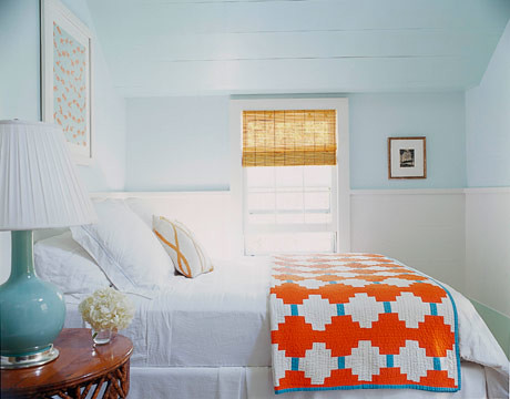 Dreamy blue-green Hamptons bedroom: Benjamin Moore's 'Spring Mint' + white trim