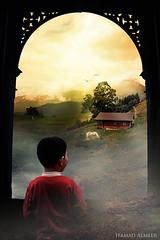 Window of Dreams (Hamad Al-meer) Tags: boy horse cloud house tree bird home window nature canon landscape eos dreams hamad 30d حمد almeer platinumphoto المير hamadhd hamadhdcom wwwhamadhdcom