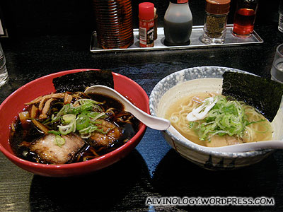 Our dinner: Black and white shio ramen