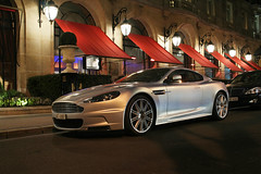Aston Martin DBS by night ([ JR ]) Tags: paris car silver grey gris martin exotic gt argent aston dbs plazza athne lighening fialeix