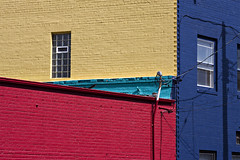 Paint Job (gfpeck) Tags: blue red color brick yellow walls f11 grandforks pca61