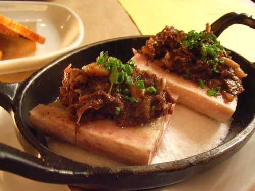 Salt-baked bone marrow and stew of mushrooms and tail @ Damon's Frugal Friday by you.