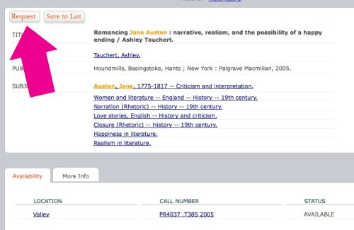 Book request button - OSU Library catalog