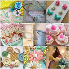 Flickr Friday!! (chelstastic) Tags: blue flower cakes yellow paper necklace blog fdsflickrtoys flickr pretty handmade tag polka dot button earrings finds gft frday