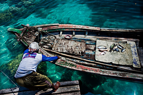 Azure seas and Javanese fisherman