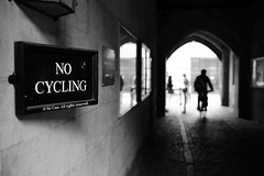 No... (Sir Cam) Tags: cambridge light university arch shadows silhouettes nocycling newmuseumsite sircam