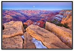 Full Moon at the Grand Canyon (Larry Zimmer Photography) Tags: winter sunset arizona moon snow nationalpark grandcanyon canyon fullmoon moonrise geology hdr specland larryzimmer