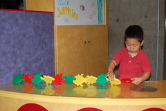 Owen building a train of fish