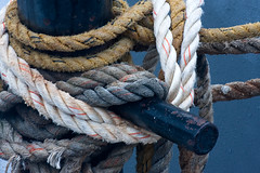 Fishing Trawler Lines on Post (JohnColeUSA) Tags: lines ship fishingboat metalpost coloredlines coloredropes shippart