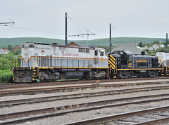 Genesee Valley Montreal Locomotive Works M420  2045 and Delaware Lackawanna ALCO RS3 4103, stored at Steamtown, Scranton, PA, May 26, 2009 (Ivan S. Abrams) Tags: travel up nikon trains locomotive nikkor nationalparkservice railways cpr locomotives railroads historicpreservation steamtown c