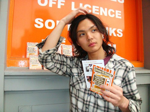Kyohei from Hanjiro with 28th June 2009 QOS Party Flyer
