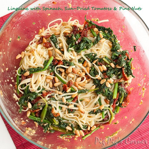 Linguine with Spinach Sun-dried Tomatoes and Pine Nuts2