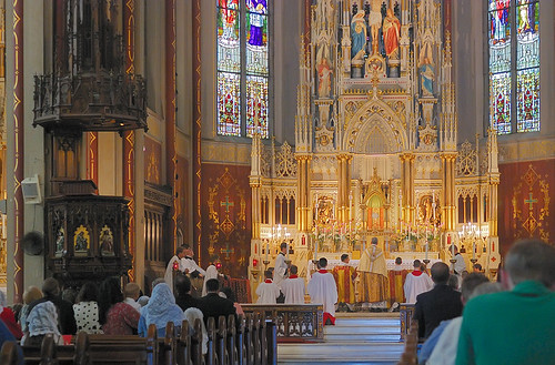 Saint Francis de Sales Oratory, in Saint Louis, Missouri, USA - end of Corpus Christi procession in church
