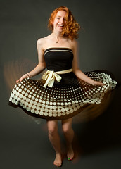 In Motion (WillKing) Tags: motion blur fun happy dance rachel dress redhead polkadots