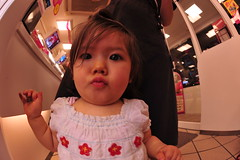 Kissy face girl (owen4green) Tags: pink blue red baby brown white black green girl japan shirt tile interestingness nikon daughter ivy lips fisheye littlegirl chubby kanazawa ishikawa ishiguro d700 16mmf28d kissyfacegirl