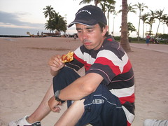 pizza on Waikiki Beach