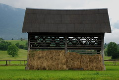 """typical slovenian """"kozolec"""" (Matevz Umbreht) Tags: wood roof building tourism grass vertical architecture loft wooden 3d construction corn crafts wheat board traditional grain shingle culture straw dry device double structure foundation beam slovenia cover pasture rack vernacular column hay agriculture isolated buckwheat bohinj carpentry handcraft permanent fodder rafters outbuilding opened truss slovenian joists freestanding kozolec hayrack dryingframe toplar slovenksikozoleccornrack kozovc"""