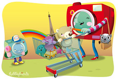 shopping cameras (bubblefriends) Tags: camera red illustration shopping rainbow shoppingcart cameras vector eifelturm motherandson buying commissioned characterdesign bubblefriends